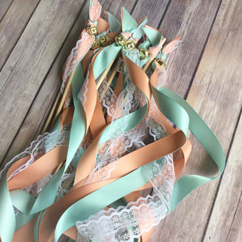 125 ribbon wand send off aqua peach and lace wedding wands with bells