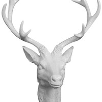 White Deer Head Plaque - Wall Plaque - Wall Art - Wall Decorations | HomeDecorators.com