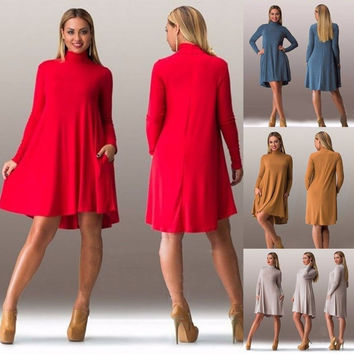 Women Loose Casual Long Sleeve Evening Party Cocktail Mini Dress Winter Autumn