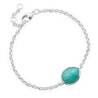 "7"" + .5"" + .5"" Pear Freeform Faceted Turquoise Bracelet"