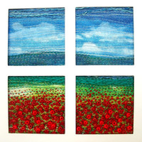 "Poppy field card - handmade greeting card - blank inside - fabric landscape - 5.5"" x 8.5"""