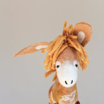 Bartholomew -  Felt Donkey. Art Toy. Felted Toys, Marionette, Felt Toy, Stuffed Toy, Puppet.  mustard gold yellow honey. READY TO SHIP.