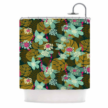 """Amy Reber """"Green Tropical"""" Tropical Floral Shower Curtain"""