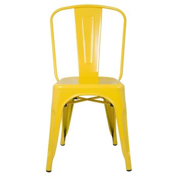 Tolix Style Chair, Yellow