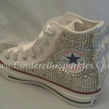White Chuck Taylor High Top Crystal Rhinestone Converse with sequin Bows, Wedding, Bri