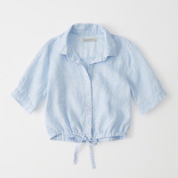 Womens Cropped Linen Tie-Waist Top | Womens New Arrivals | Abercrombie.com
