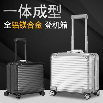100% Full Aluminum Rolling Luggage 18 Inch Valise Cabine Custom Luggage Business Trolley Min Scooter Suitcase Trolley Vintage S