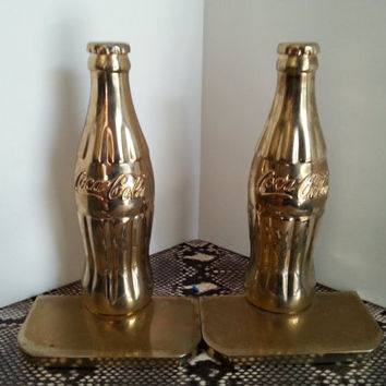 Vintage Brass Coca Cola Bottle Bookends, Set of 2 Soda Pop Coke Collectibles, 1990's 1997 by The Coca-Cola Co.