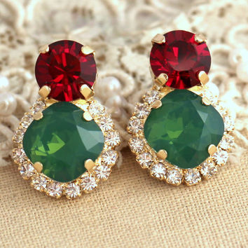 Red Green Christmas Crystal earrings, Christmas Gift for her, Ruby Emerald Swarovski Crystal Stud earrings, Red Green  Christmas jewelry