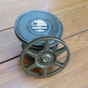 Vintage Harwood Super 8mm Metal Film Reel in Metal Case Great Decor Altered Art Supply Gift for Photographer Film Enthusiast Guy Gift