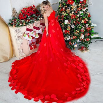 In stock Dress Royal Red New  Flower Wedding Dresses Sexy Women Girl Wedding Dress Gown 2016