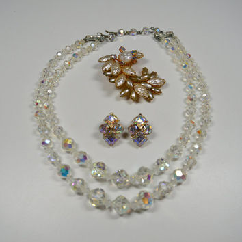 Vintage Jewelry Lot Aurora Borealis Multi Strand Necklace Kramer Rhinestone Clip Earrings Faux Pearl Rhinestone Pin Classy Jewelry Lot