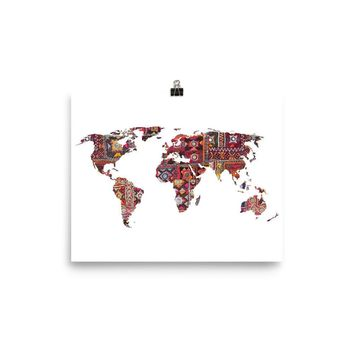 Reiki Charged Indian Fabric Map Of Earth Poster Meditation Yoga Grunge Hippie