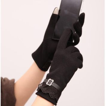 Touch screen gloves lace thickening cycling gloves Black