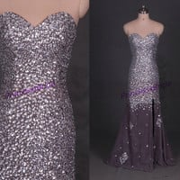 Sparkly long chiffon prom dresses with rhinestones,2014 cheap women gowns for holiday party,chic elegant homecoming gowns on sale.