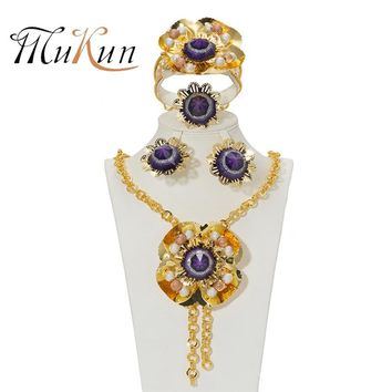 MUKUN New Women Jewelry Sets Wedding Fashion Flower Gold Color African Beads Vintage Party Statement Big Necklace Accessories