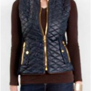 Fate Faux Leather Quilted Vest in Navy FTP2181