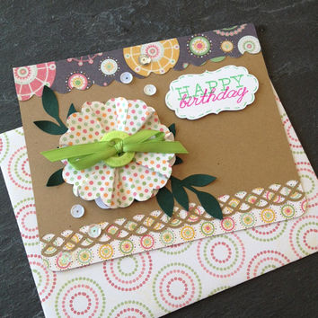 Handmade Happy Birthday Greeting Card Great For A Woman Girl