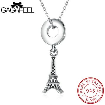 Eiffel Tower 925 Sterling Silver Pendant Necklace Lady Women Jewelry Sparking