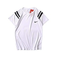 NIKE Fashion New Bust Side Hook Print Women Men T-Shirt Top White
