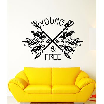 Vinyl Wall Decal Ethnic Style Arrows Words Quote Young Free Stickers (3274ig)