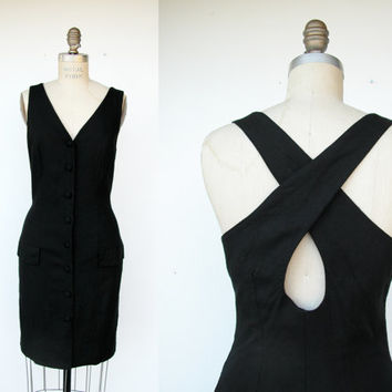 Vintage The Limited black flax dress / cross back / made in usa / little black dress: size 10