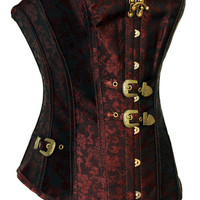 Red Floral Print with Vintage Metal Belt Corset