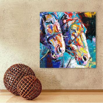 Modern Abstract Art Canvas Colorful Horses Wall Pictures / Living Room Decor
