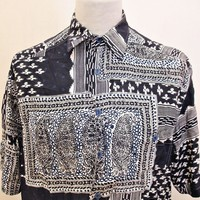 Vintage 1990s Shirt AMAZING Hipster Goth Crazy Print Polo Pattern Large