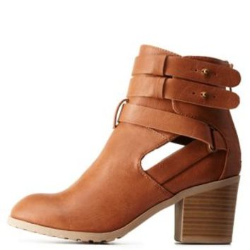 Cognac Double Buckle Cut-Out Bootie by Charlotte Russe