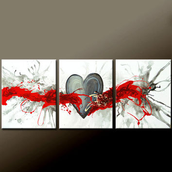 """3pc Abstract Canvas Art Painting 48"""" Original Contemporary Triptych Paintings by Destiny Womack - dWo - Heartbeat"""