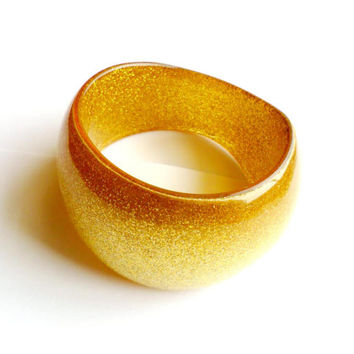 Vintage Gold Glitter Bangle Embedded Lucite Sparkle Chunky Bold Disco Retro Big Large Acrylic Resin Plastic Groovy Style