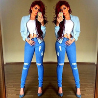 Women Denim Jeans Distressed Jeggings Skinny Stretch Boyfriends Ripped Long Pants = 5708459841