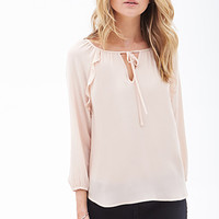 FOREVER 21 Ruffled Woven Top Nude