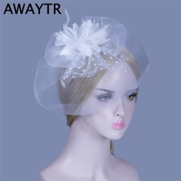 AWAYTR Fascinator Women Hat with a Veil New Feather Floral Hat Hairpins Veil Hats Hair Accessories Bow Girls Hair Clips Party