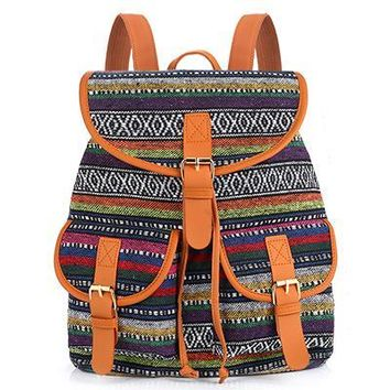 School Bag Bohemian Vintage Women Backpack Drawstring Printing Canvas Bagpack Sac a Dos Femme Rucksack Female