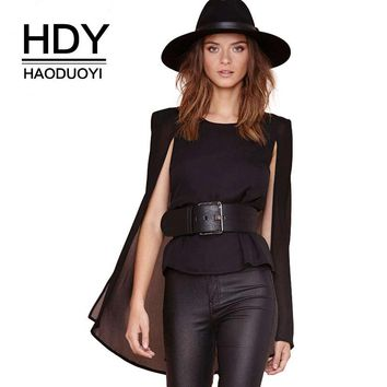 Fashion Women Tops Sexy Sheer Double Layer Chiffon Tees Open Long Sleeve Black Cape Party Female Elegant Tops