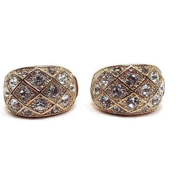 Rhinestone Vintage Clip on Earrings Gold Tone Curved Rectangle Retro Womens Formal Prom Jewelry Bling Glitz Glam