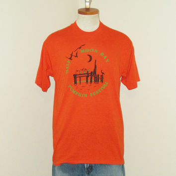 Vintage Amazing 70s HALLOWEEN PUMPKIN FESTIVAL Fall Graphic Orange Soft Comfortable Medium Large Velva Sheen 50/50 T-Shirt