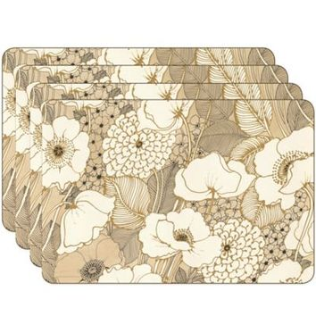 Jason Pen and Ink Flowers Hardboard Cork-Backed Placemats (Set of 4)