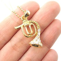 3D Miniature Musical Instrument French Horn Shaped Pendant Necklace in Gold