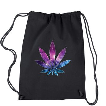Galaxy Print Pot Leaf Drawstring Backpack