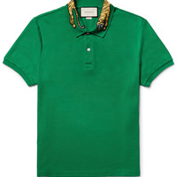 Gucci - Slim-Fit Embroidered Stretch-Cotton Piqué Polo Shirt
