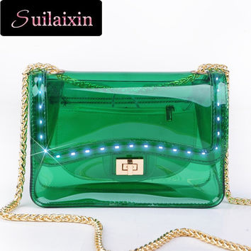 LED Bag Women Transparent Bags Summer Small Beach Chains Jelly Light Envelope Clutch Flap Bags High Quality