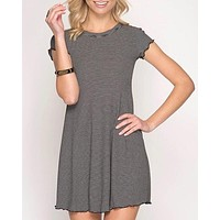 cap sleeve striped ribbed swing dress with merrow detail - more colors