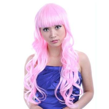 60cm Long Curly Front Lace Cosplay Party one piece Hair cap Wig  Pink