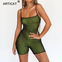 Articat Mesh Transparent Sexy Rompers Womens Jumpsuit Strapless Backless Bandage Bodycon Playsuit Party Jumpsuits For Women 2018