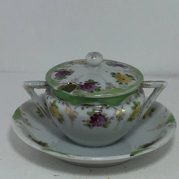 Floral China Sugar Bowl, Hand Painted Flowers, Condiment, Jelly, Serving Dish with Lid & Saucer, Vintage Dishes