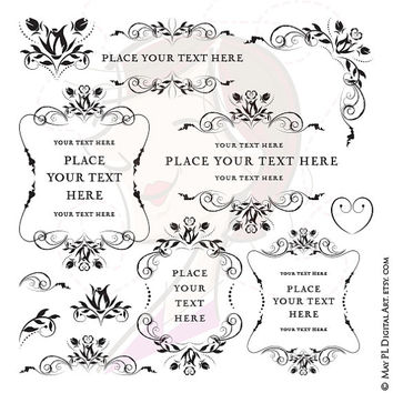 Flourish Clipart Wedding Vintage Digital Frames Floral Border Rose Flower Black Digistamp Craft Scrapbooking Supply Png