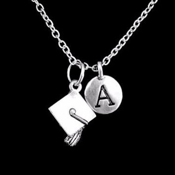 Choose Initial, Graduation Cap Class Of 2017 Gift Graduate Charm Necklace